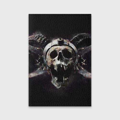 Обложка для паспорта матовая кожа  Фото 01, Череп с рогами
