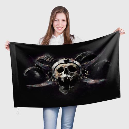 Флаг 3D  Фото 01, Череп с рогами