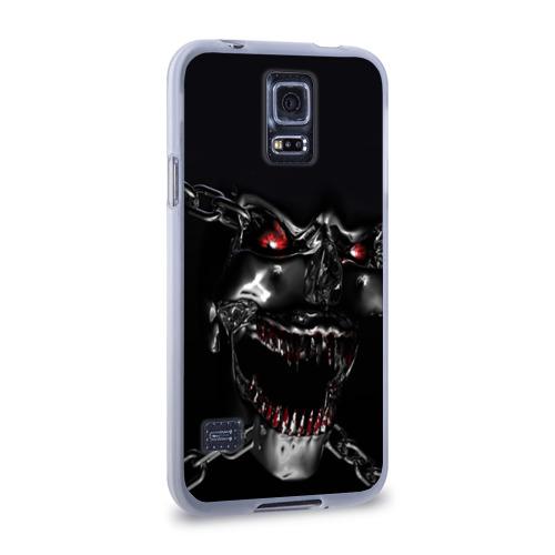Чехол для Samsung Galaxy S5 силиконовый  Фото 02, Череп в цепях