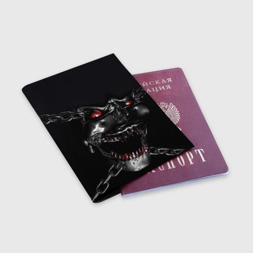 Обложка для паспорта матовая кожа  Фото 03, Череп в цепях