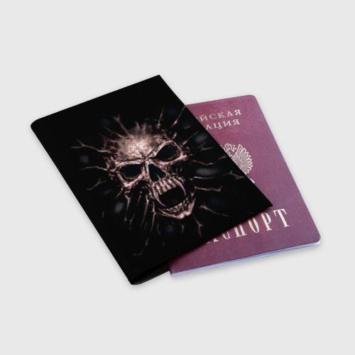 Обложка для паспорта матовая кожа  Фото 03, Scary skull