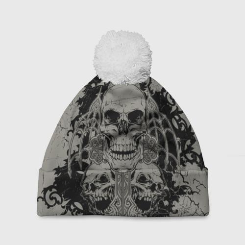 Шапка 3D c помпоном  Фото 01, Skulls