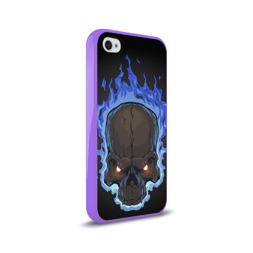 Чехол для Apple iPhone 4/4S силиконовый глянцевый  Фото 02, Fire skull