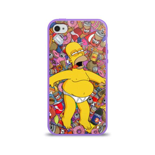 Чехол для Apple iPhone 4/4S силиконовый глянцевый  Фото 01, Гомер