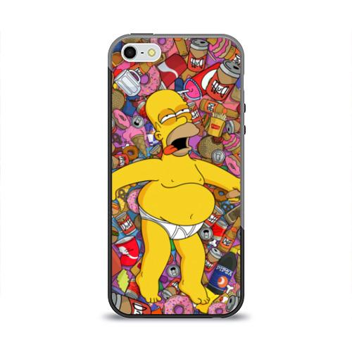 Чехол для Apple iPhone 5/5S силиконовый глянцевый Гомер от Всемайки
