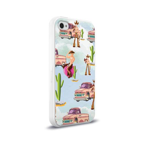Чехол для Apple iPhone 4/4S силиконовый глянцевый  Фото 02, Ковбой