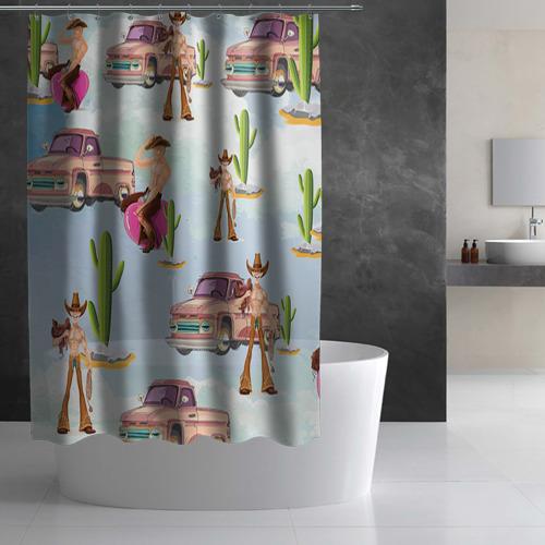 Штора 3D для ванной  Фото 02, Ковбой