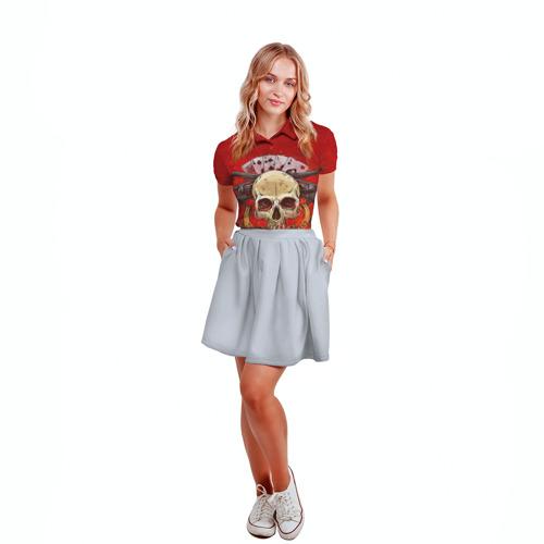 Женская рубашка поло 3D  Фото 04, Череп