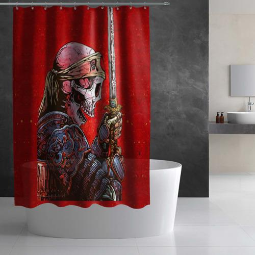 Штора 3D для ванной  Фото 03, Череп