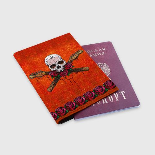 Обложка для паспорта матовая кожа  Фото 03, Череп