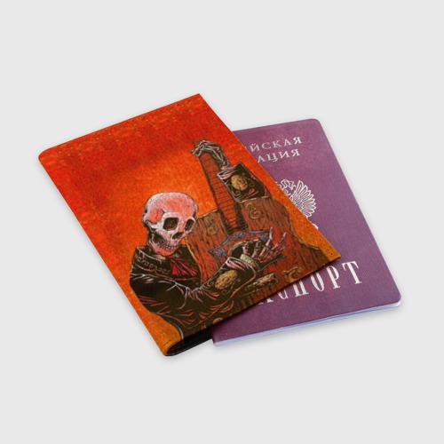 Обложка для паспорта матовая кожа  Фото 03, Скелет с гитарой