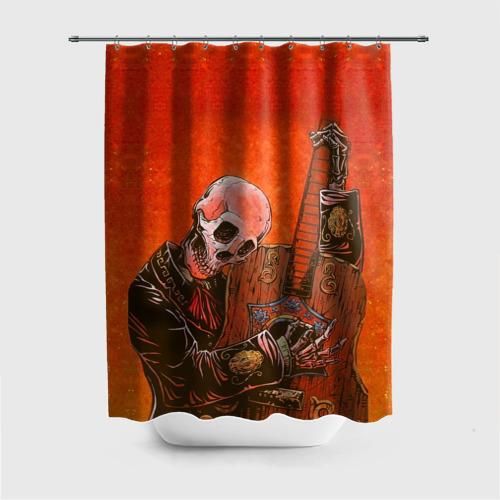 Штора 3D для ванной  Фото 01, Скелет с гитарой