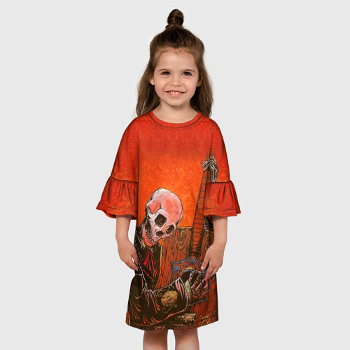 Детское платье 3D Скелет с гитарой