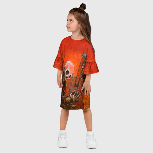 Детское платье 3D  Фото 03, Скелет с гитарой