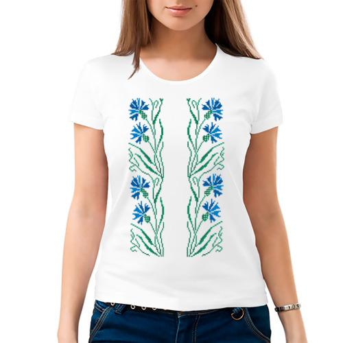 Женская футболка хлопок  Фото 03, Василек-вышивка. Орнамент