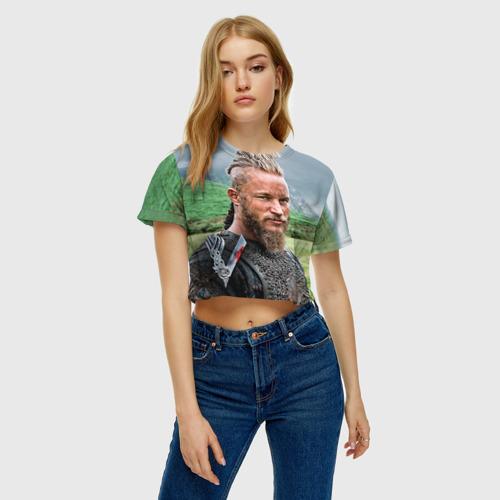 Женская футболка 3D укороченная  Фото 04, Рагнар Лодброк