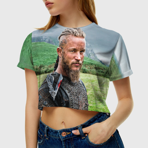 Женская футболка 3D укороченная Рагнар Лодброк