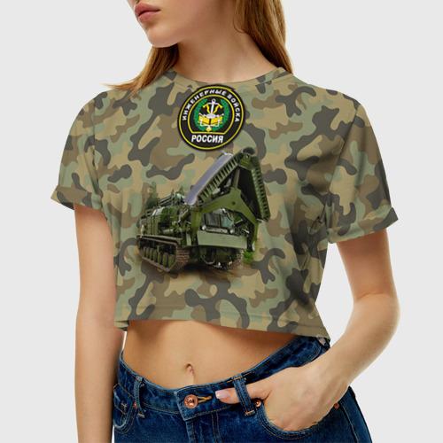 Женская футболка 3D укороченная Инженерные войска