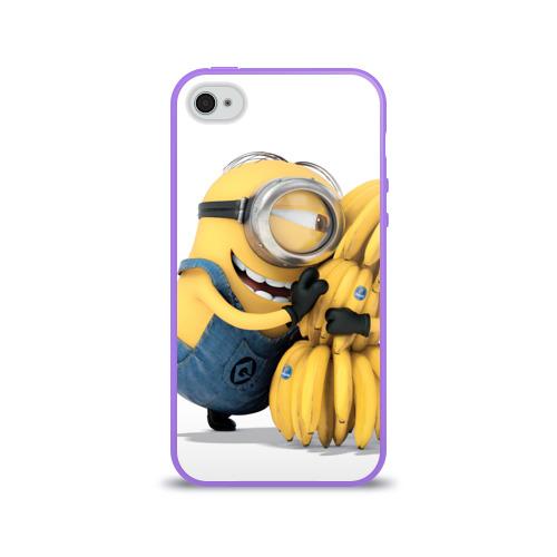 Чехол для Apple iPhone 4/4S силиконовый глянцевый  Фото 01, Банан