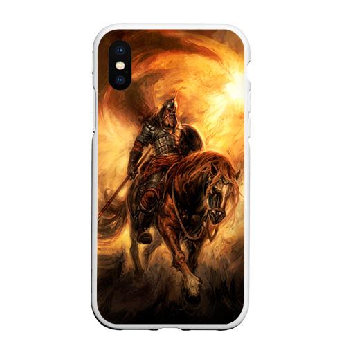 Чехол для iPhone XS Max матовый Богатырь с копьем Фото 01