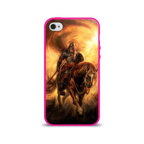 """Чехол силиконовый глянцевый для Apple iPhone 4 """"Богатырь с копьем"""" - 1"""