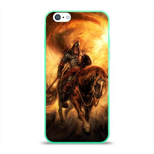 """Чехол силиконовый глянцевый для Apple iPhone 6 """"Богатырь с копьем"""" - 1"""