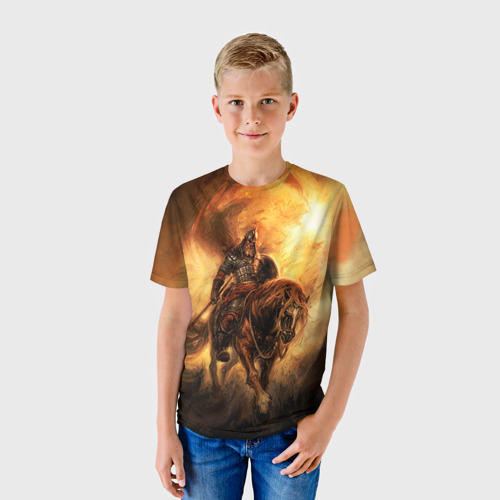 Детская футболка 3D Богатырь с копьем