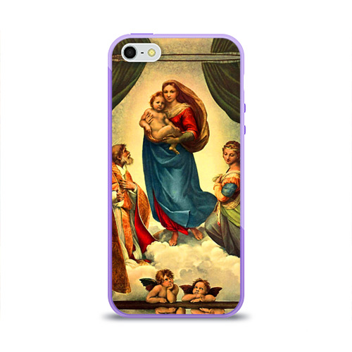 """Чехол силиконовый глянцевый для Apple iPhone 5S """"Рафаэль - Сикстинская мадонна"""" - 1"""