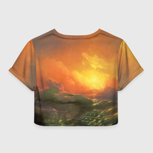 Женская футболка 3D укороченная Айвазовский - 9 Вал