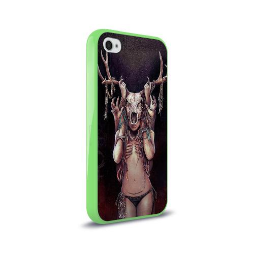 Чехол для Apple iPhone 4/4S силиконовый глянцевый  Фото 02, Хранительница леса