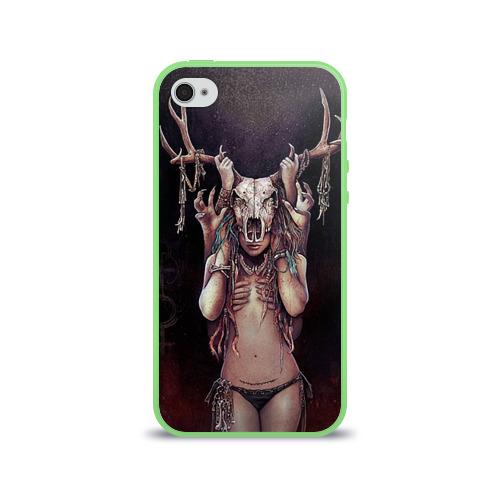 Чехол для Apple iPhone 4/4S силиконовый глянцевый  Фото 01, Хранительница леса