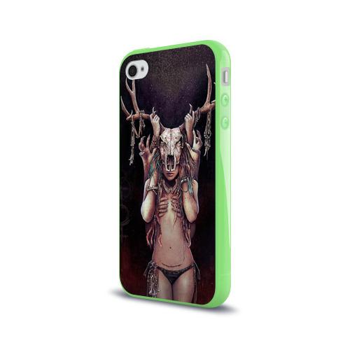 Чехол для Apple iPhone 4/4S силиконовый глянцевый  Фото 03, Хранительница леса
