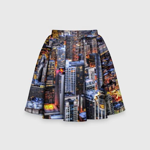 Детская юбка-солнце 3D Вечерний город