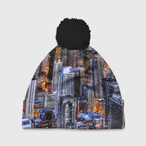 Шапка 3D c помпоном Вечерний город