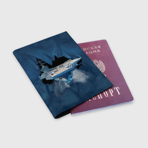 Обложка для паспорта матовая кожа  Фото 03, Авианосец