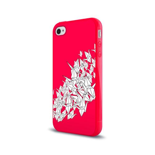 Чехол для Apple iPhone 4/4S силиконовый глянцевый  Фото 03, 1000 Cranes