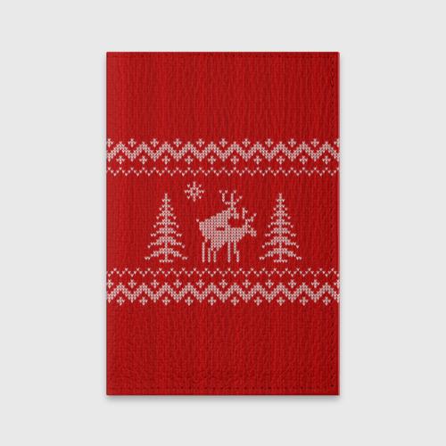 Обложка для паспорта матовая кожа  Фото 01, Свитер с оленями