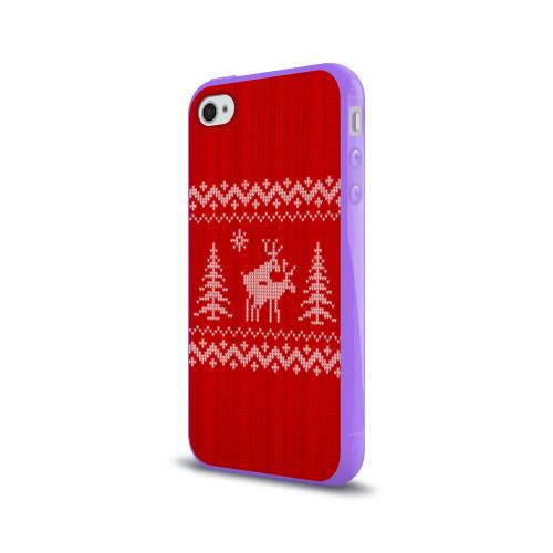 Чехол для Apple iPhone 4/4S силиконовый глянцевый  Фото 03, Свитер с оленями