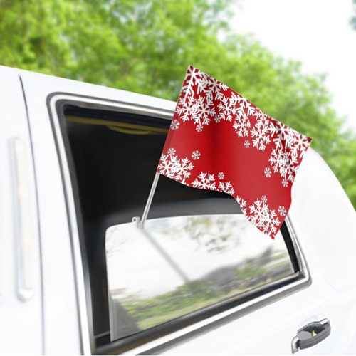 Флаг для автомобиля Снежинки Фото 01