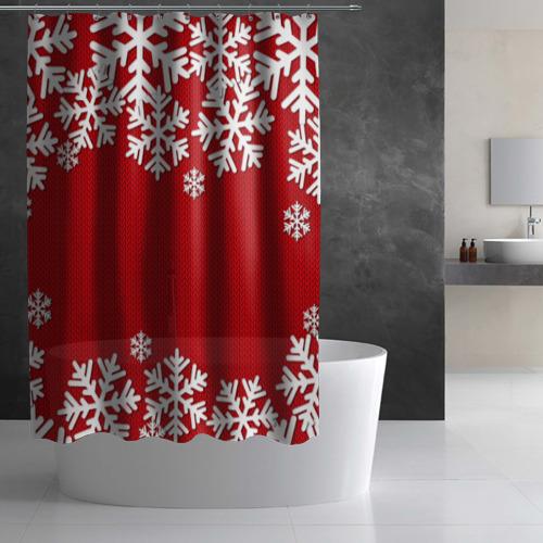 Штора 3D для ванной  Фото 03, Снежинки