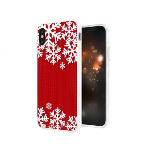 Чехол для Apple iPhone X силиконовый глянцевый Снежинки Фото 01