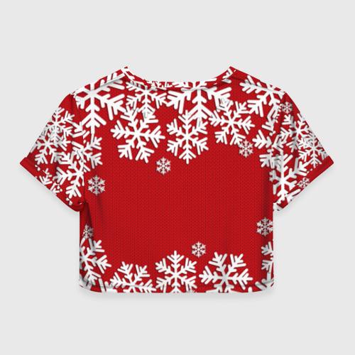 Женская футболка 3D укороченная  Фото 02, Снежинки