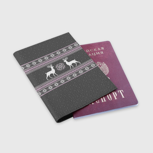 Обложка для паспорта матовая кожа  Фото 03, Свитер с оленями