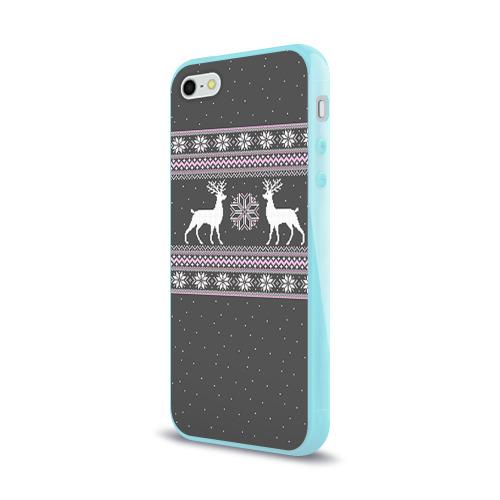 Чехол для Apple iPhone 5/5S силиконовый глянцевый Свитер с оленями Фото 01