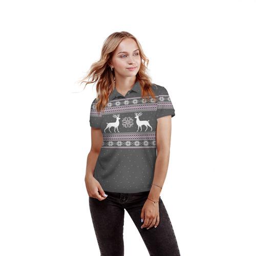 Женская рубашка поло 3D  Фото 03, Свитер с оленями