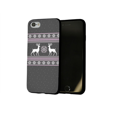 Чехол для Apple iPhone 8 силиконовый глянцевый Свитер с оленями Фото 01