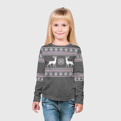 Детский лонгслив 3D Свитер с оленями Фото 01