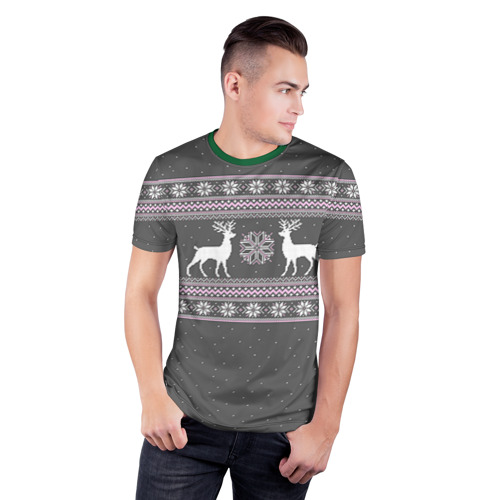 Мужская футболка 3D спортивная Свитер с оленями Фото 01
