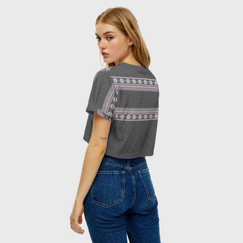 Женская футболка Crop-top 3D Свитер с оленями Фото 01