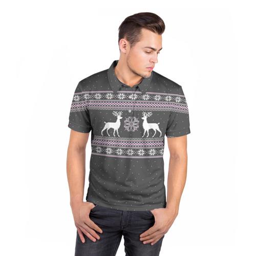 Мужская рубашка поло 3D Свитер с оленями Фото 01